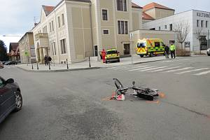 Místo dopravní nehody v Příboře.