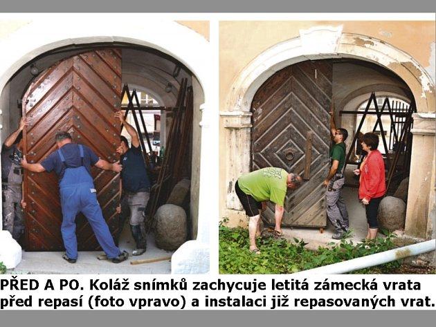 Fotografie vpravo zachycuje letitá zámecká vrata před repasí, foto vlevo je z instalace již repasovaných vrat.