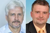 Postupující kandidáti 1. kola senátních voleb na Novojičínsku Petr Orel (vlevo) a Jaroslav Dvořák,