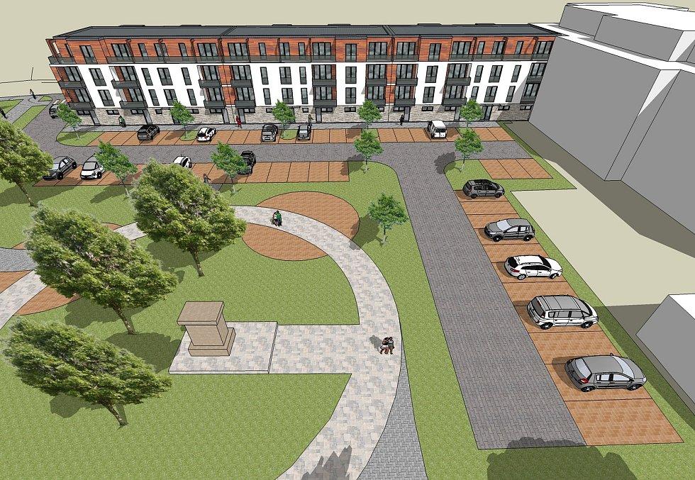 Vizualizace budoucí podoby bytového domu v ulici Dolní Brána.