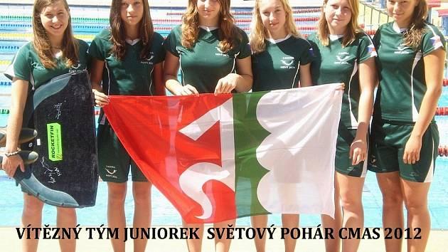 Juniorští ploutvaři Laguny Nový Jičín senzačně zvítězili ve Světovém poháru CMAS 2012 v plavání s ploutvemi také v bodování klubů.