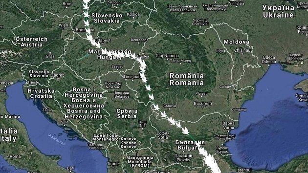 NA MAPĚ lze přesně vidět cesta Václava z Bartošovic až do Turecka.