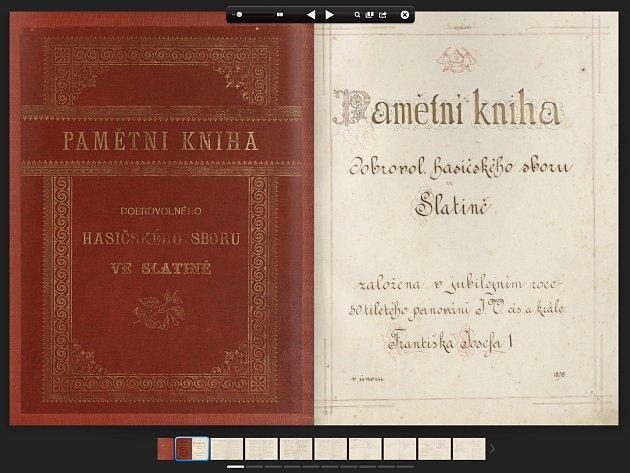 Pamětní kniha hasičského sboru ve Slatině 1898 - 2012 na internetových stránkách.