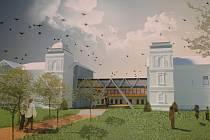 Jeden ze studentských návrhů obě vily propojuje krytou lávkou.