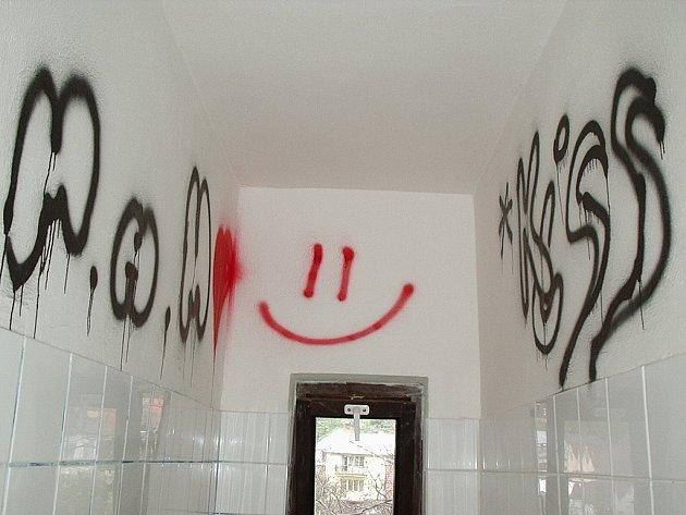 """Veřejné záchodky v tamním parku se nedávno staly """"malířským"""" terčem trojice místních školáků ze 6. třídy."""