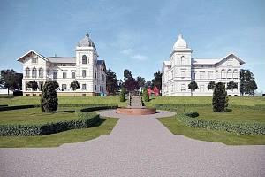 Architektonický návrh, jak by areál Hückelových vil mohl vypadat.