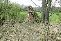 Z hromady zarostlých cihel a kamení trčí ještě kousek zdi.