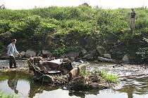 Dobrovolníci uklízejí naplavené odpadky v okolí řeky Jičínky a Odry.