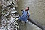 Ani zhruba čtyřstupňový mráz neodradil vodáky od otevření řeky Odry a jejího sjezdu ze Spálova.