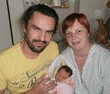 MAGDALÉNA BÍLKOVÁ s rodiči, Mošnov, nar. 6. 11. 2016, 55 cm, 3,60 kg. Nemocnice ve Frýdku-Místku.