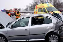 Hromadná nehoda na dálnici u Bravantic.