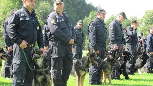 """V Bartošovicích od pondělí soutěží policejní psovodi. Pro návštěvníky bylo určeno malé představení """"psích specialistů"""" kteří až dokončí výcvik, budou se věnovat pouze určitým úkolům, jako například starým stopám nebo hledání lidských ostatků."""