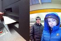 PRAVDĚPODOBNÍ pachatelé při výběru peněz platební kartou z jednoho z bankomatů. Foto: Policie ČR