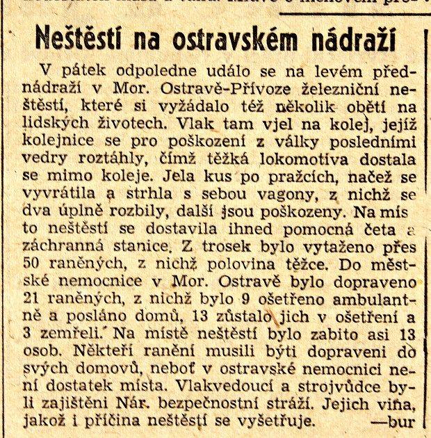 Zpráva zperiodika Hlas oželezničním neštěstí vostravě včervenci 1945.Foto: archiv Vratislava Zemana