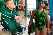 Novojičínský ploutvař Jakub Klimpar (vlevo) si v domácím bazénu vyplaval tři zlaté medaile. Výborně si ve 2. kole Středoevropského poháru mládeže vedla  členka Laguny Barbora Svobodová, která vybojovala tři zlata.
