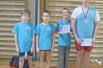 Úspěšní zápasnicí Tiché. Zleva: Jan Mičulek, Jakub Konvička, Ondřej Trinkewitz a Václav Petr.