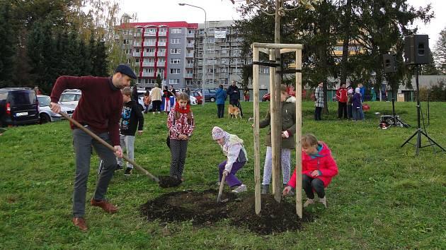 V novojičínské místní části Loučka v pátek odpoledne vysadili Strom svobody.