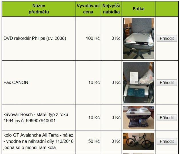 Na aukci jsou především kancelářské předměty, ale nejen ty.