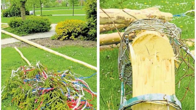 Jednou z májek, kterou vandalové o prvním květnovém víkendu v Jeseníku nad Odrou zničili, je i ta na návsi. S jejím skácením si museli dát práci.
