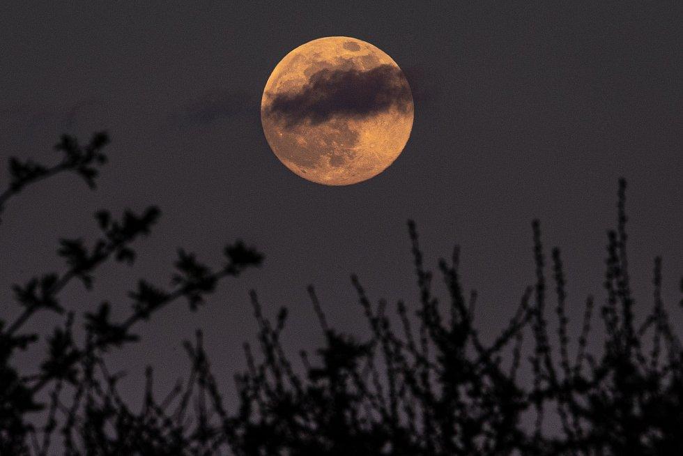 Toto není přebal knihy z básnické sbírky od Edgara Allana Poea, to je super růžový Měsíc z 26. dubna 2021.