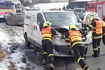 Zásah hasičů u dopravní nehody v obci Vrchy.