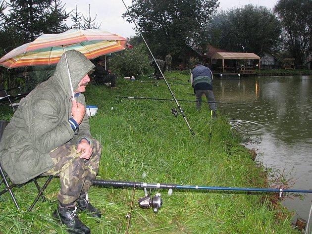 Déšť, tma a teplota pod deset stupňů. To všechno provázelo nedělní rybářské závody na rybníku v Jerlochovicích, místí části Fulneku. Místo čtyřiceti účastníků se za pruty posadilo pouhých patnáct.