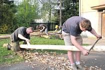 Loňské přípravy ke stavění máje v Hájově u Příbora.