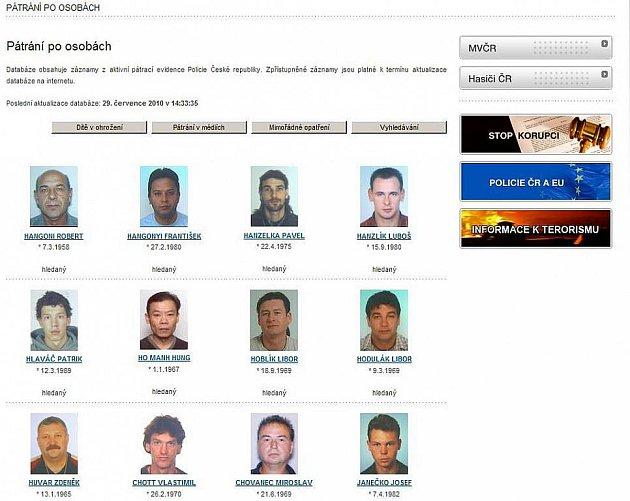 Seznam pohřešovaných osob lze naléz na servru Policie ČR.