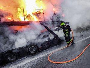 Požár polského kamionu