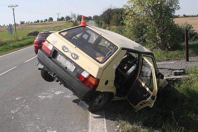 Takto skončilo v pondělí 5. září vozidlo Škoda Favorit poté, co jeho řidiče napadla vosa. Řidič i dva tříletí chlapci z nehdoy naštěstí vyvázli s lehčími zraněními. Auto potřísněné malířskou barvou nakonec začalo hořet.