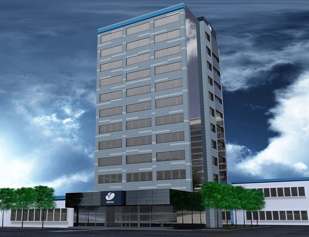 Vizualizace ukazuje budoucí podobu administrativní budovy společnosti Varroc Lighting Systems v Novém Jičíně.