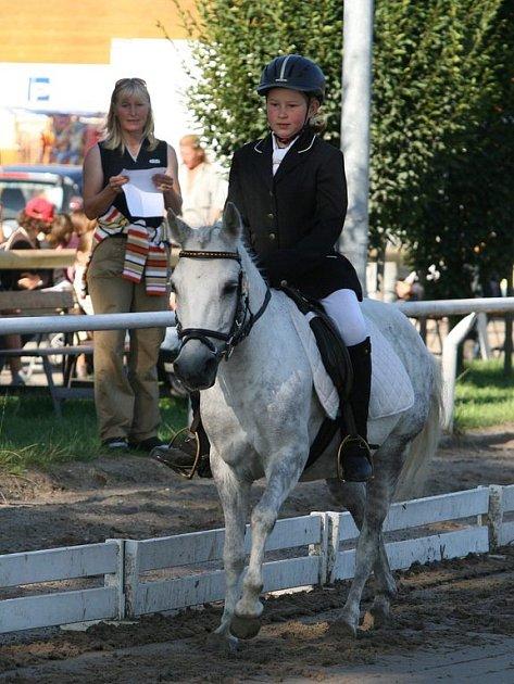 Viktorie Theimeerová na koni Laskonka z JK Amír Rudná pod Pradědem získala zlatou medaili v drezuře dětí kategorie 8 až 12 let pony A.