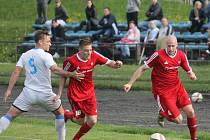 Novojičínští fotbalisté (v červeném) doma porazili Havířov 3:1.