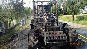 Požár traktoru Zetor na Novojičínsku.
