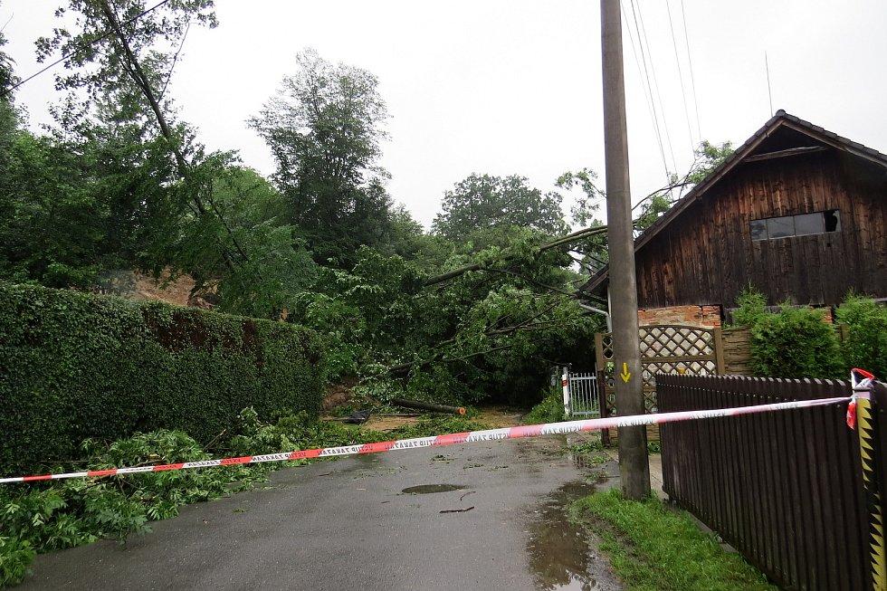 Stromy popadaly na dům pod svahem a s bahnem uzavřely průjezd silnicí z Lubiny na Mniší.