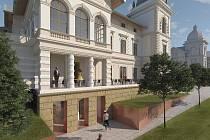 Vizualizace možné podoby vily a jejího okolí z roku 2018.