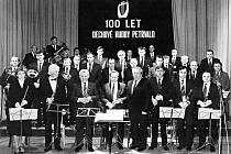 Oslava 100. výročí existence dechové hudby v Petřvaldě v roce 1988.