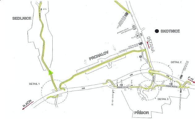 Mapa od Policie ČR ukazuje, kudy povedou objízdné trasy při uzavírce silnice I/48 od párku 9. do středy 14. dubna.