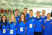 Na mistrovství v Grazu získali čeští reprezentanti celkem 7 medailí. Zleva: Beáta Polišenská, Veronika Rosová, Martin Mazáč, Klára Křepelková, Petr Španihel, Ondřej Dofek, Jakub Jarolím, Otakar Novotný a Petr Schejbal.