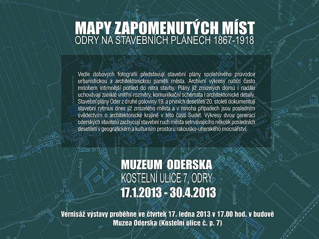 Výstava nazvaná Mapy zapomenutých míst aneb Odry na stavebních plánech 1867-1918.