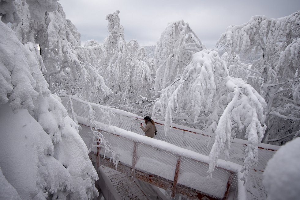 Stezka Valaška pod vrcholem Tanečnice na Pustevnách v Beskydech na snímcích z 11. ledna 2019.