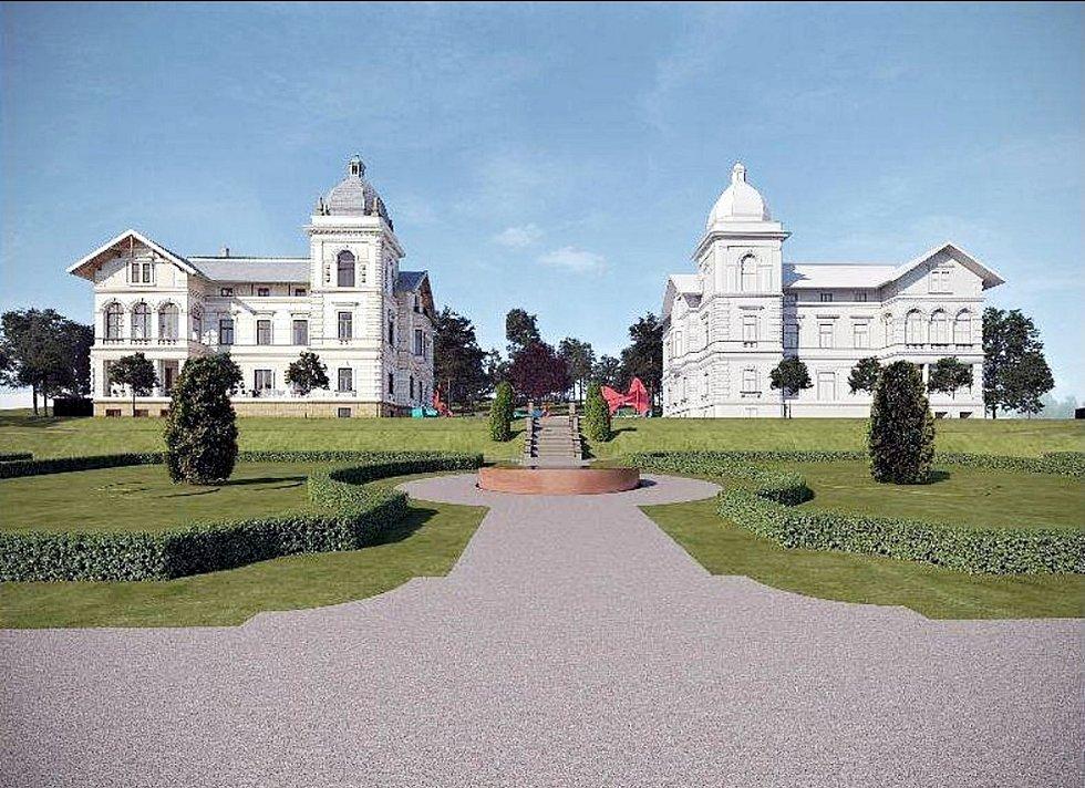 Architektonický návrh, jak by areál Hückelových vil mohl vypadat. Foto: archiv města Nový Jičín