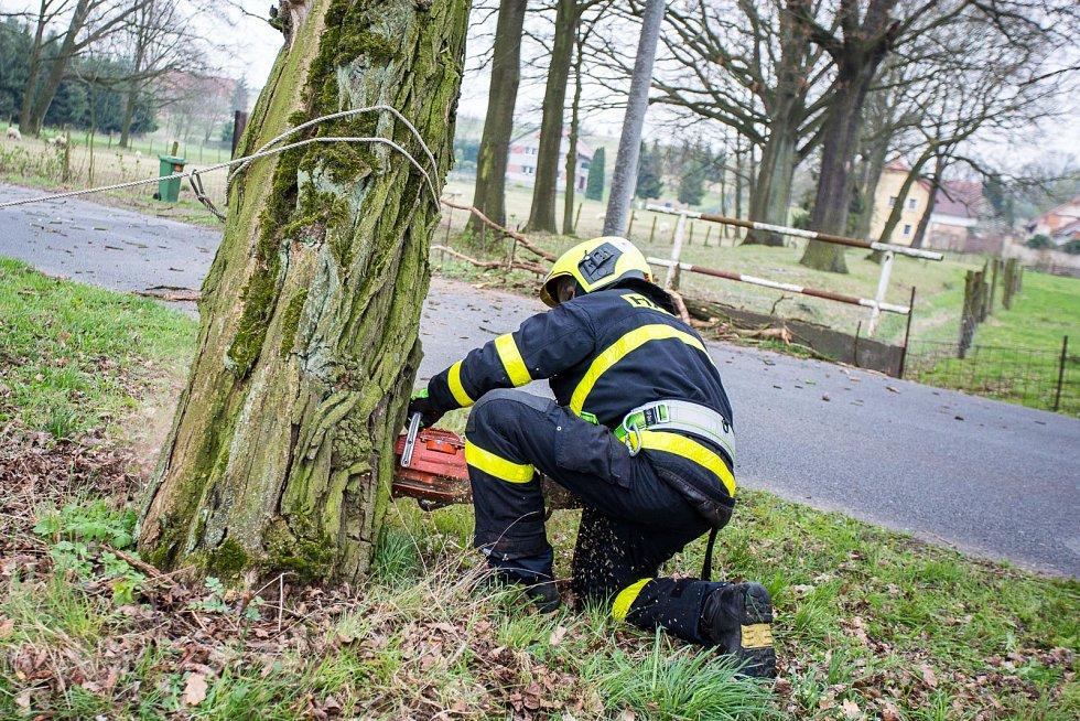 K bezpečnému pokácení nebezpečně nakloněného stromu si hasiči do Velkých Albrechtic povolali jeřáb.