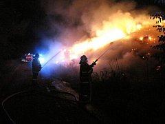 Požár stohu v Bartošovicích