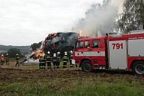 Požár stohu ve Fulneku