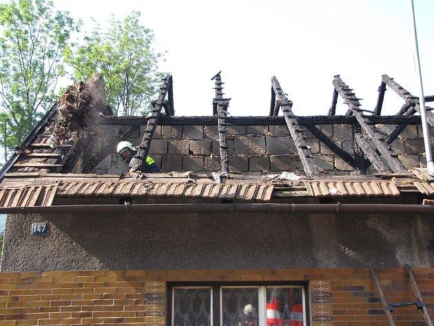 Šest jednotek hasičů zasahovalo ve středu ráno ve Veřovicích (okres Nový Jičín) u požáru sedlové střechy rodinného domku. Oheň nikoho nezranil, škoda na zničené střeše byla odhadnuta na 600 tisíc korun.