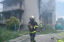Požár rodinného domu ve Skotnici.