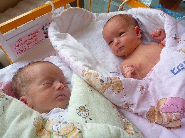 JULIE AVALÉRIE NENUTILOVY, Kopřivnice, nar. 20.11.2012, obě 45cm, 2,11kg Julie (vlevo), 2,50kg Valérie (vpravo). Nemocnice Nový Jičín.