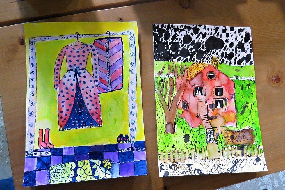 Nlevo je obrázek, který do knihy nakreslila Arwen Gaia Hubálková, vpravo je originál obrázku Štěpána Ondřejky.