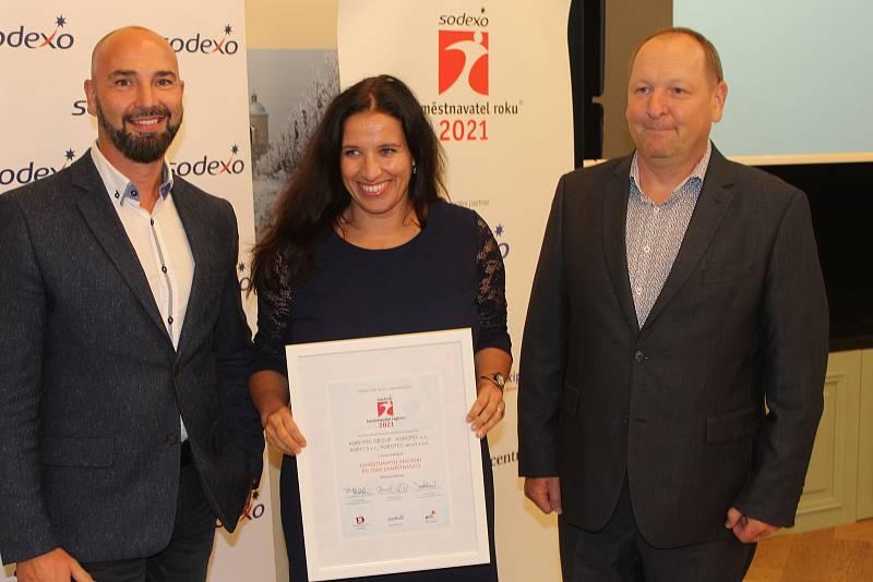 Ocenění Sodexo Zaměstnavatele roku 2021 Jihomoravského a Zlínského kraje v Archlebově v sídle Vinařství Spielberg.